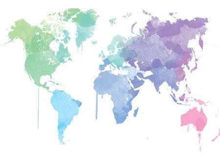 Watercolor Worldmap In Beautiful Colors Home By DemHerPrints 1000