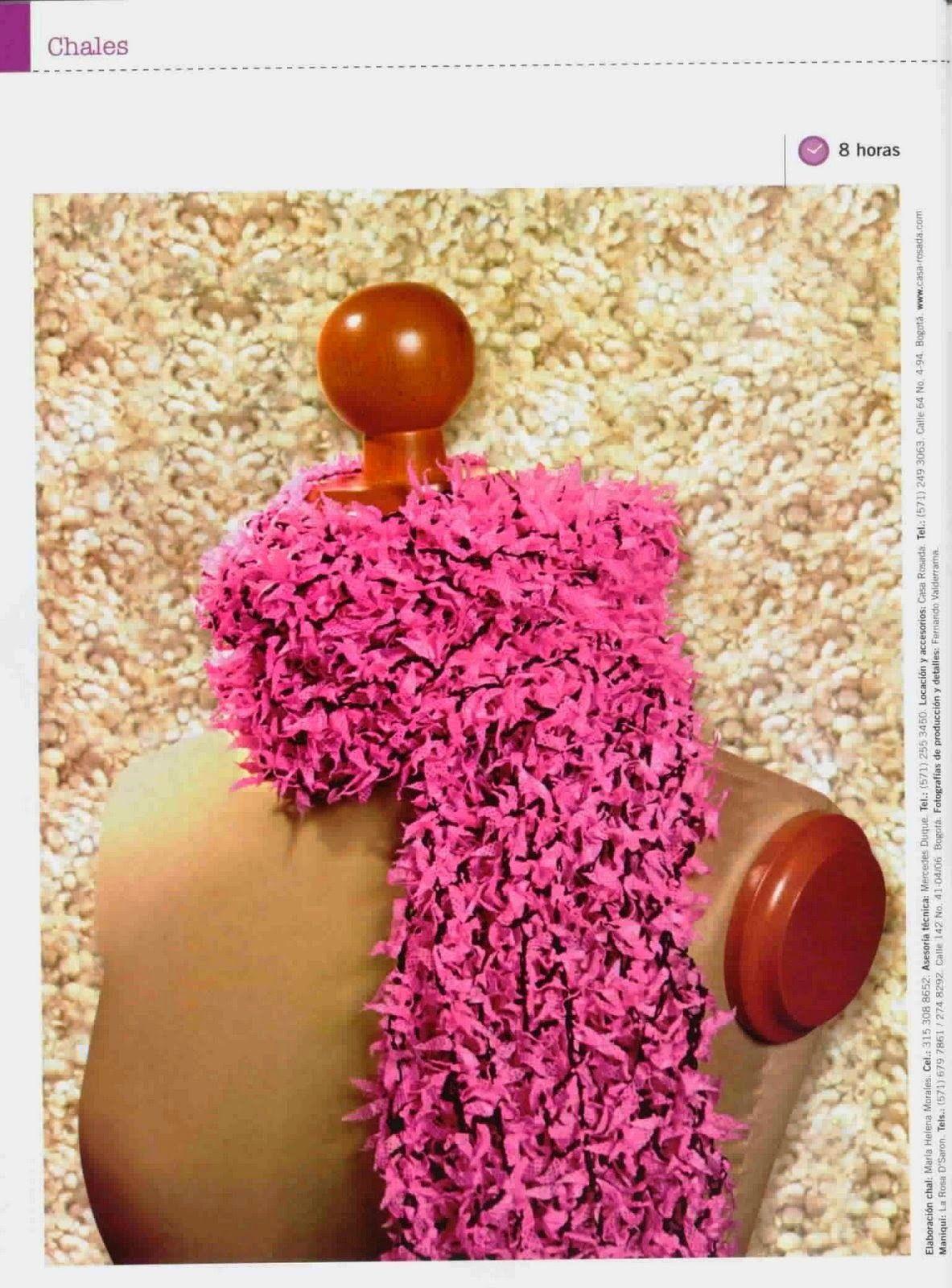 Bufanda fuscia tejida al crochet con explicación paso a paso ...