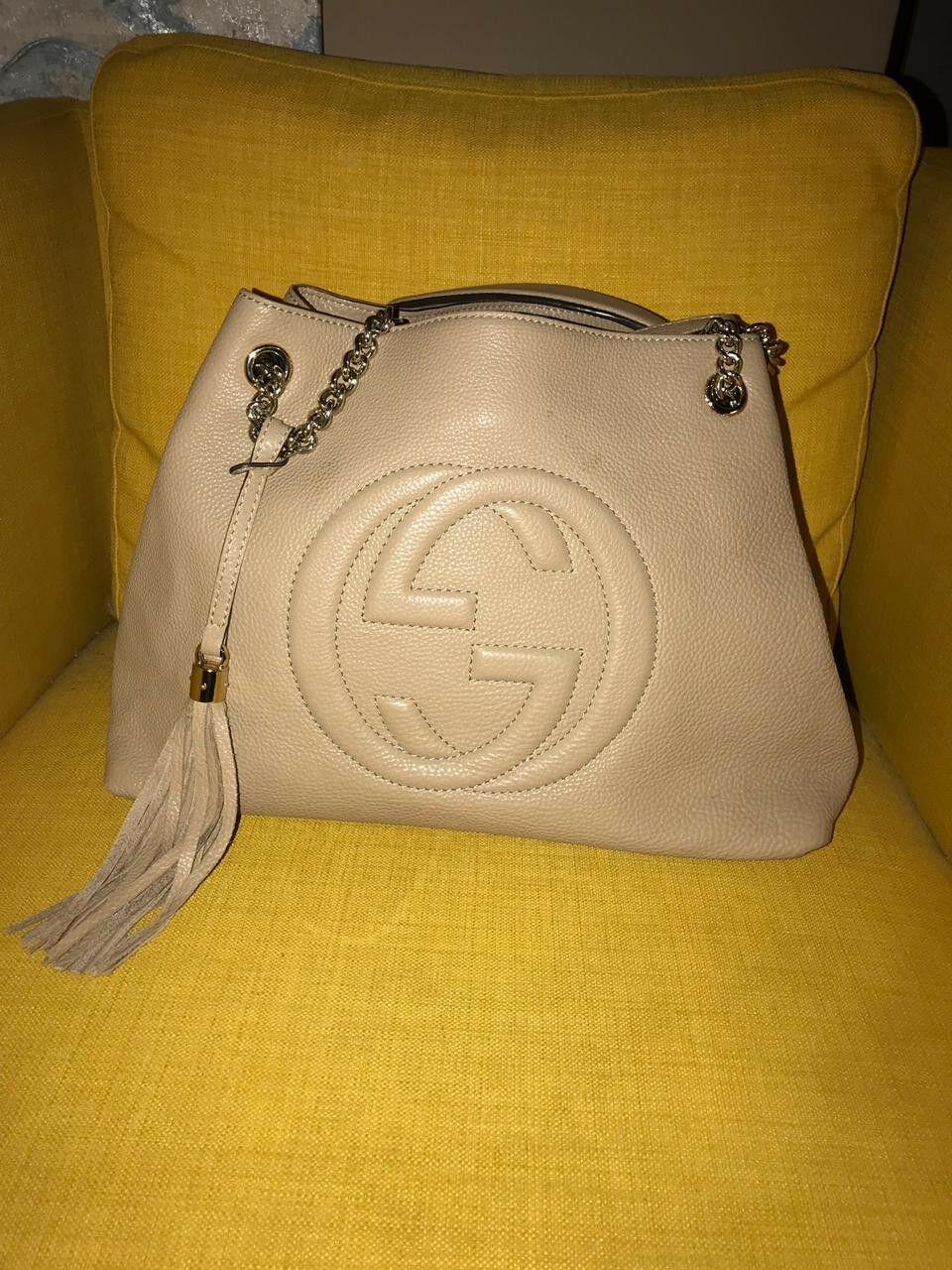 e0588a6be86 Gucci Soho Tassel Beige Leather Chain Shoulder Bag