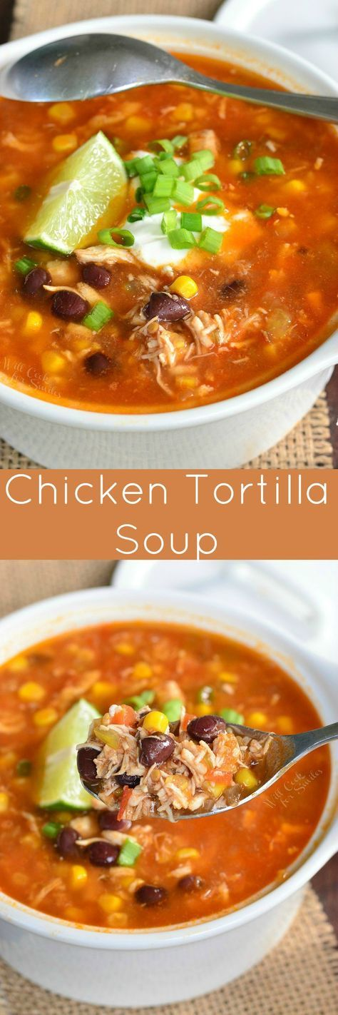 Delicious chicken tortilla soup that's full of flavors and yet, it's light. This soup is made with a tomato base, chicken, veggies, and a spice kick.