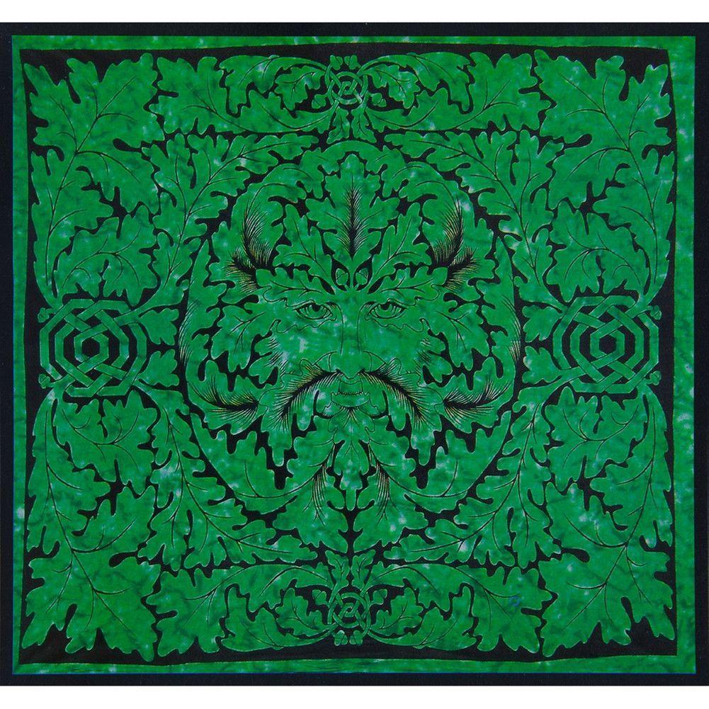 Celtic knot pagan deity green man emerald full tapestry green man