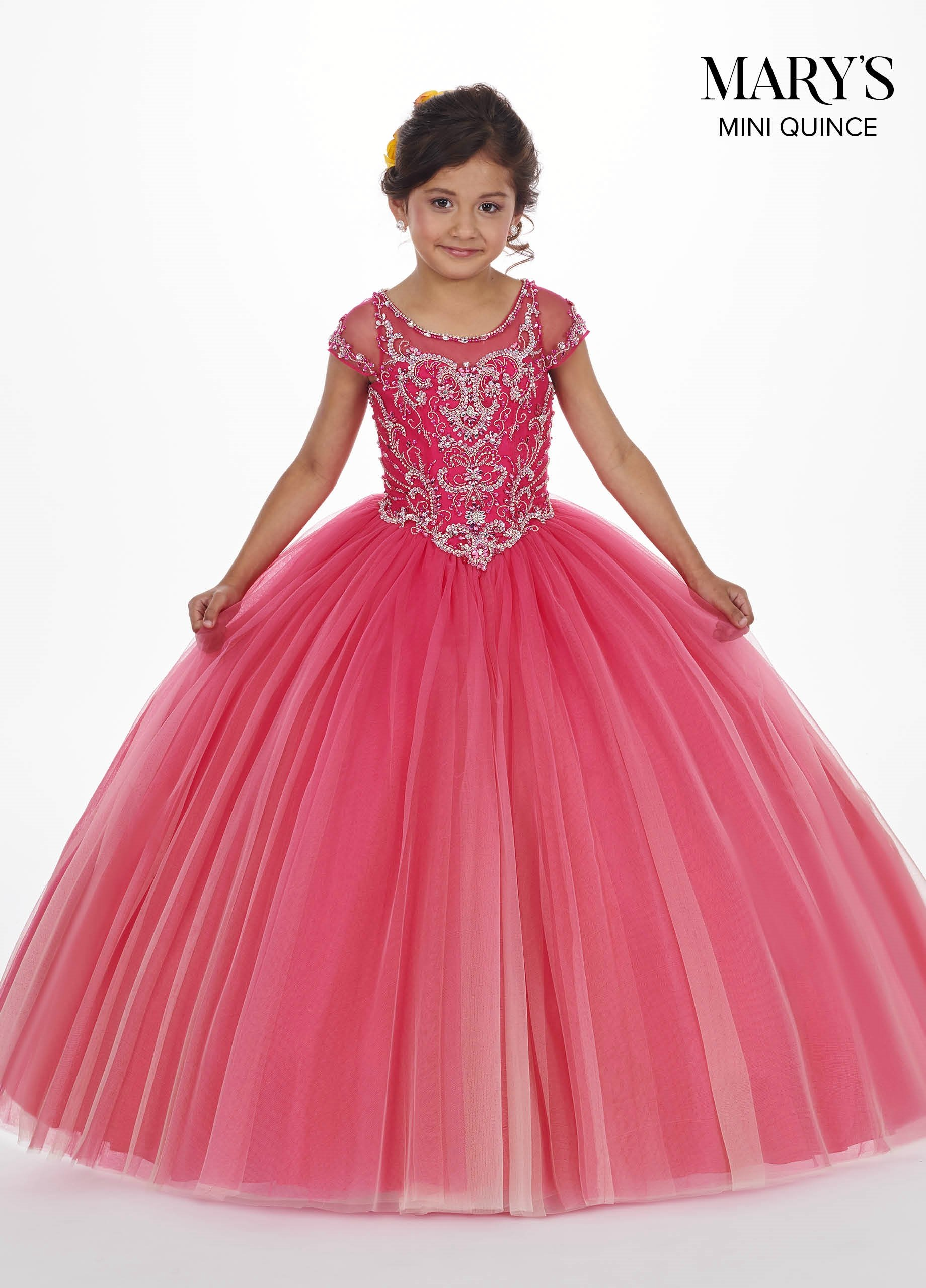 Feestjurken Kinderen.Girls Long Ombre Dress With Short Sleeves By Mary S Bridal Mq4007