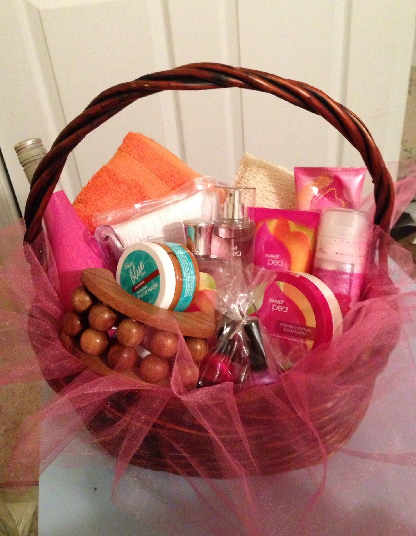 cute basket idea for spa giftcard and other items