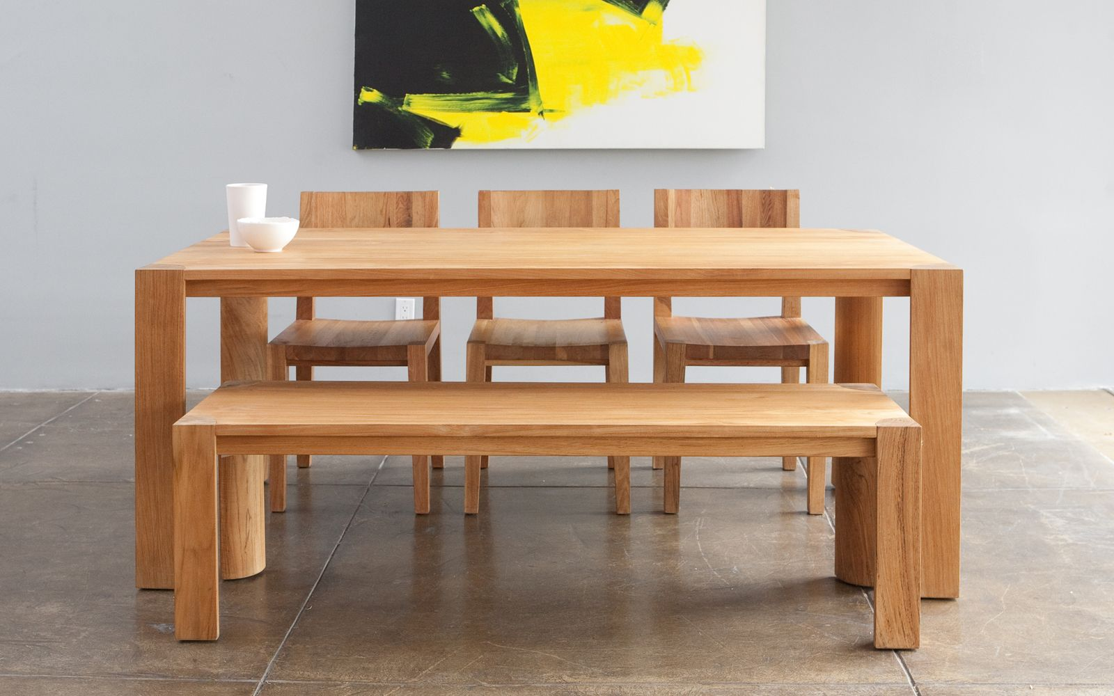 Teak Dining Table And Bench Set