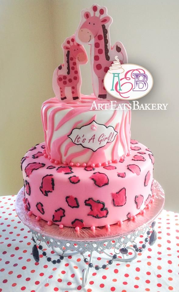 Animal print cheetah and zebra pink and black fondant girls baby