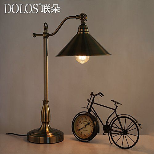 Fdh American Continental Antique Brass Table Lamp Vintage Retro Living Room Bedroom Den Eye Protection Desk Lamp F Lamp Vintage Table Lamp Brass Table Lamps
