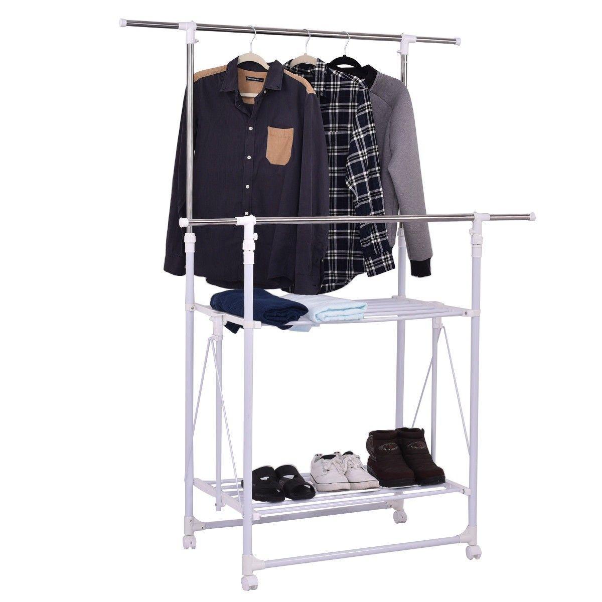 Folding Adjustable Rolling Clothes Rack Hanger With 2 Shelves Rolling Clothes Rack Clothing Rack Rolling Garment Rack
