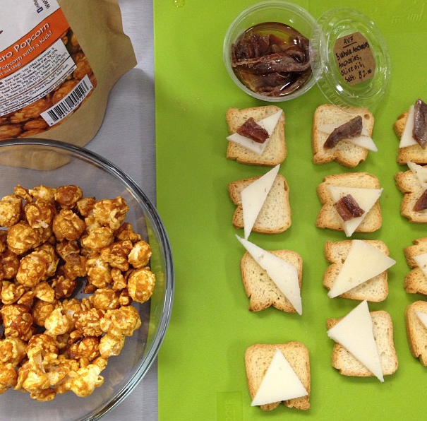 Tasty Friday - Anchovies with tipsy goat cheese on mini toast. And habanero popcorn. Candied habanero popcorn. Yum