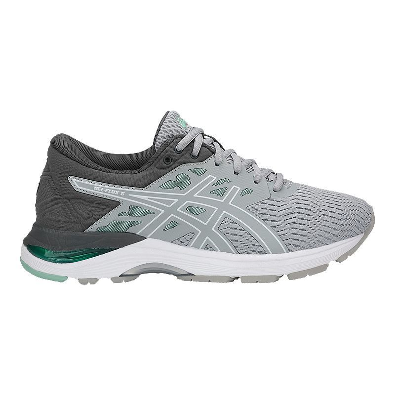 d4efee1fa07 ASICS Women s GEL Flux 5 Mid Running Shoes - Grey White Green ...