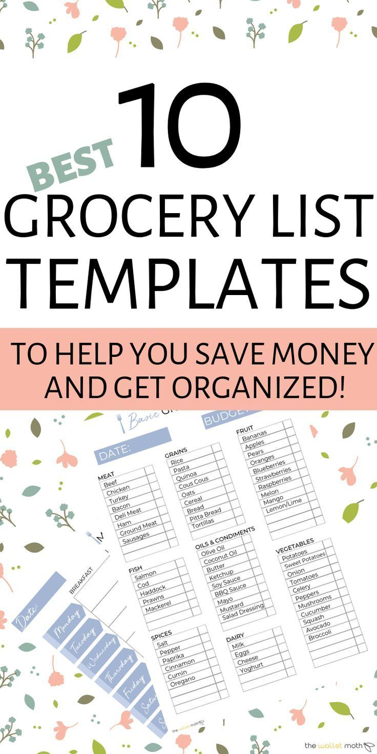 10 Free Grocery List Templates To Organize Your Life