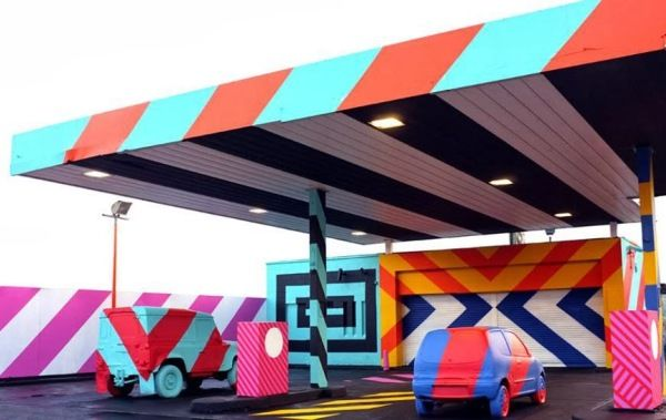 An Abandoned Gas Station Transformed Into A Colorful Pop Art Installation