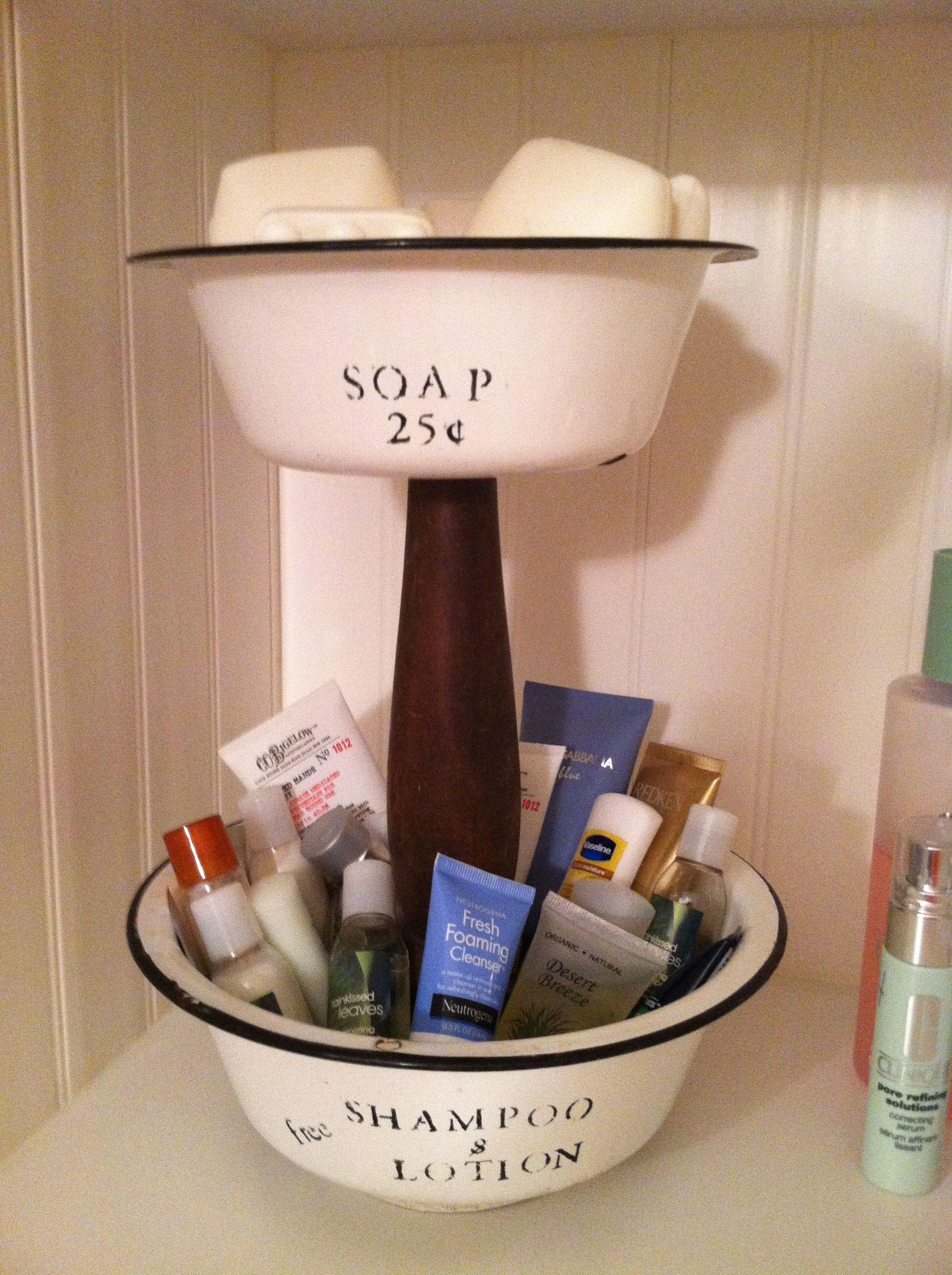 Bathroom dcorrepurposed enamelwaretwo tiered