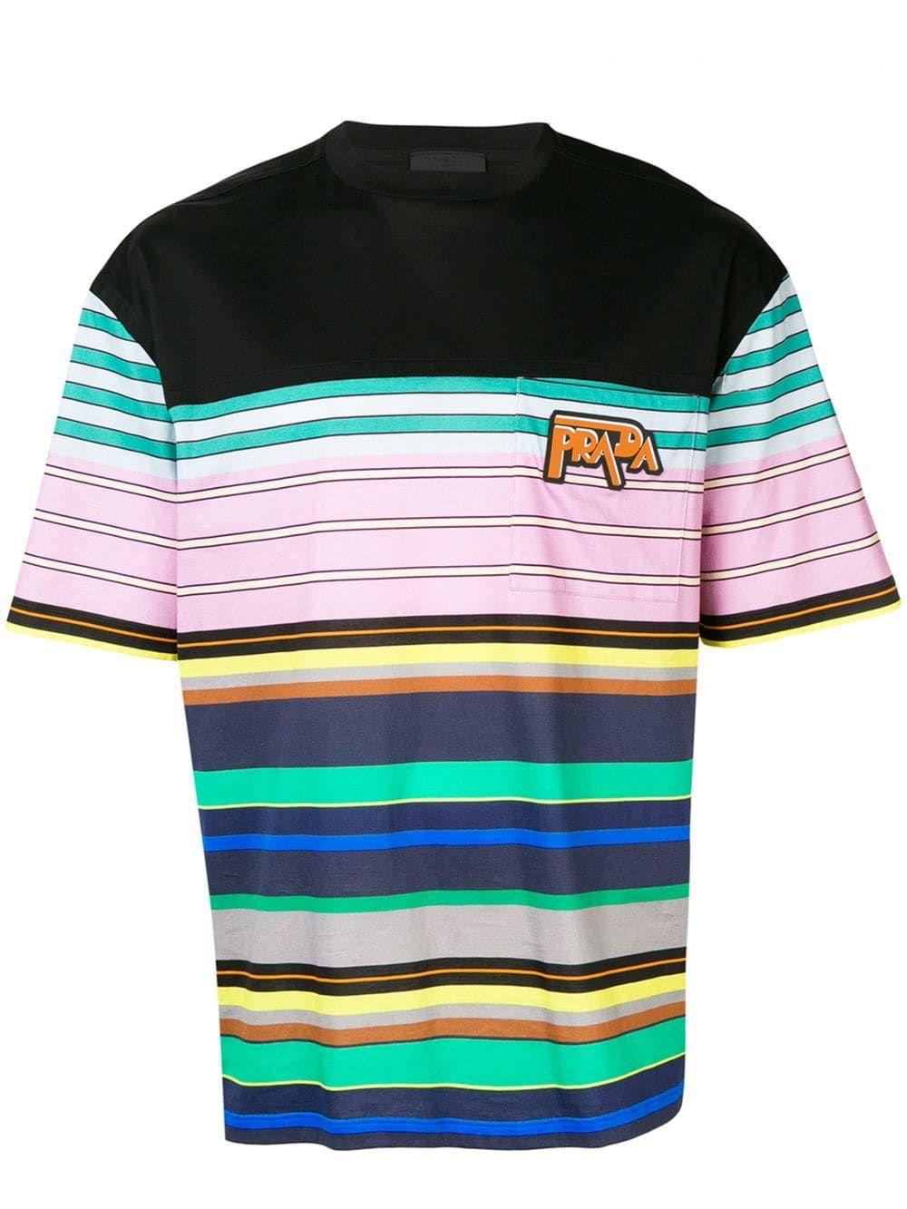 b3e465c1 PRADA LIGHT COTTON STRIPED T-SHIRT W/LOGO. #prada #cloth | Prada in ...