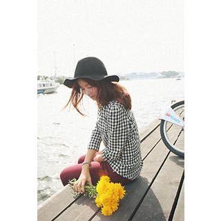 Puff-Shoulder Gingham Cotton Shirt  from #YesStyle <3 CHERRYKOKO YesStyle.com