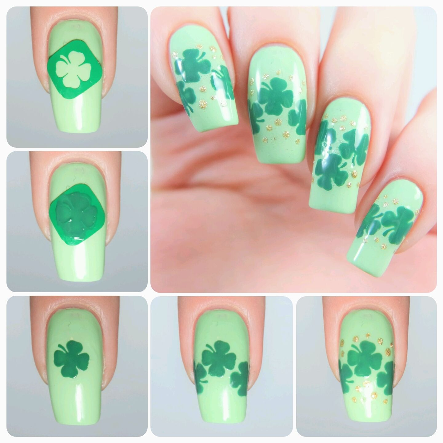 Four Leaf Clover Nail Decals | Party manicure, Nail decals and Manicure