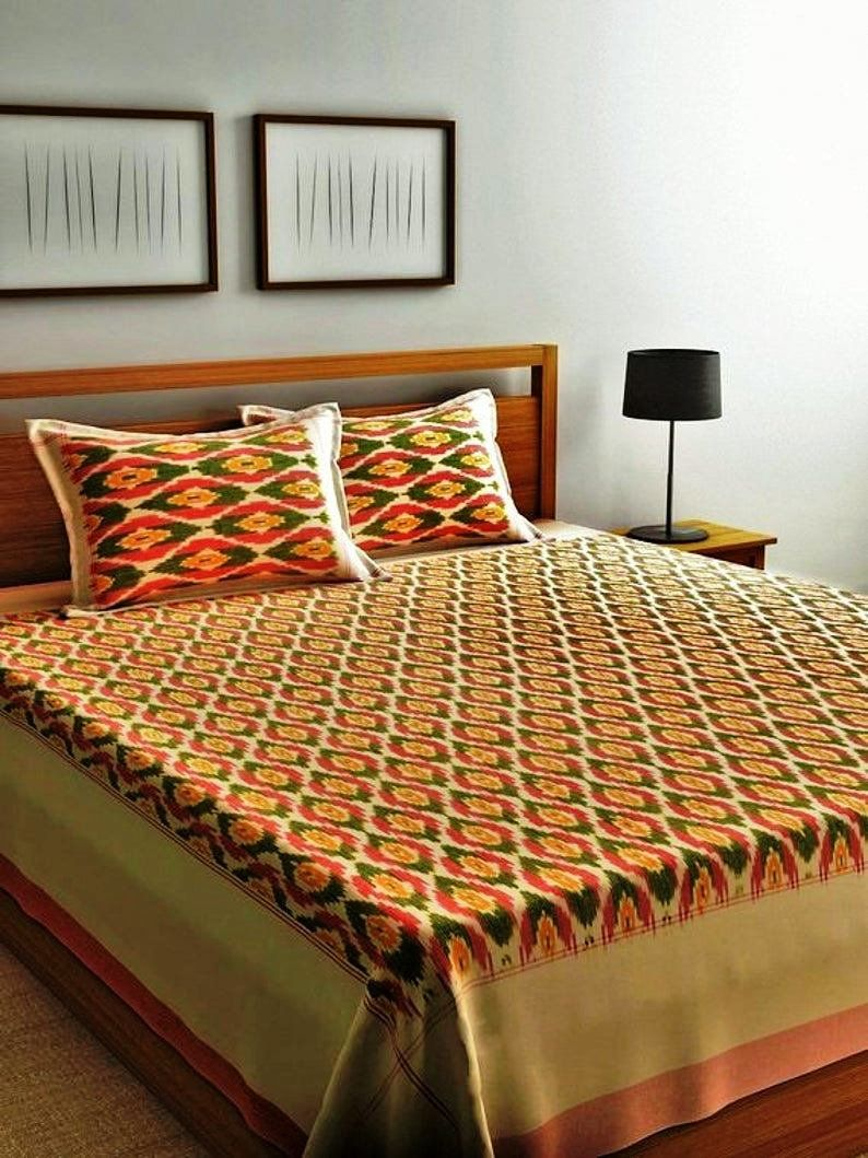Bedding Set King Size Ikat Bedspread Handwoven Throw Ikat