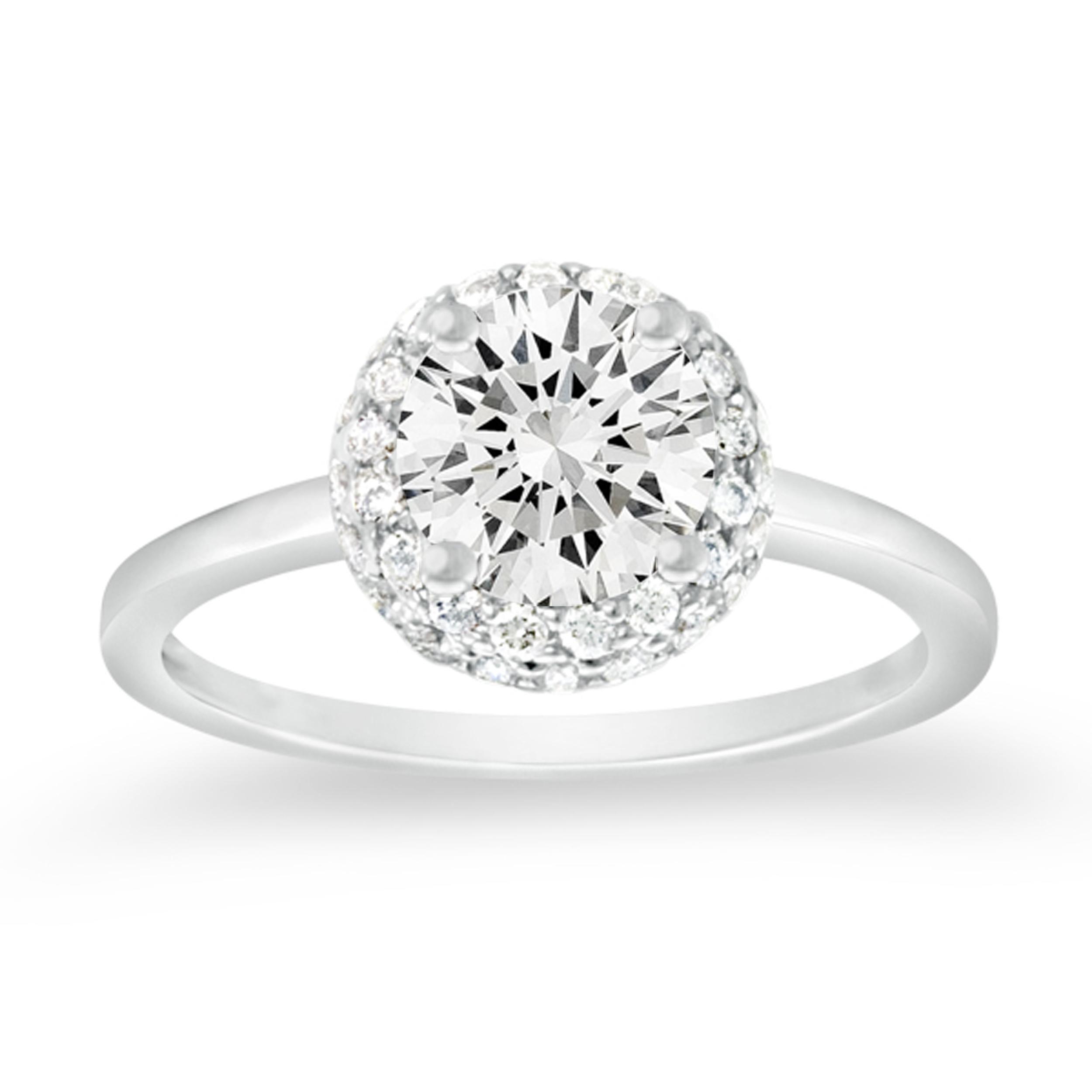 Diamond Engagement Rings Round Halo Flush With Band 17