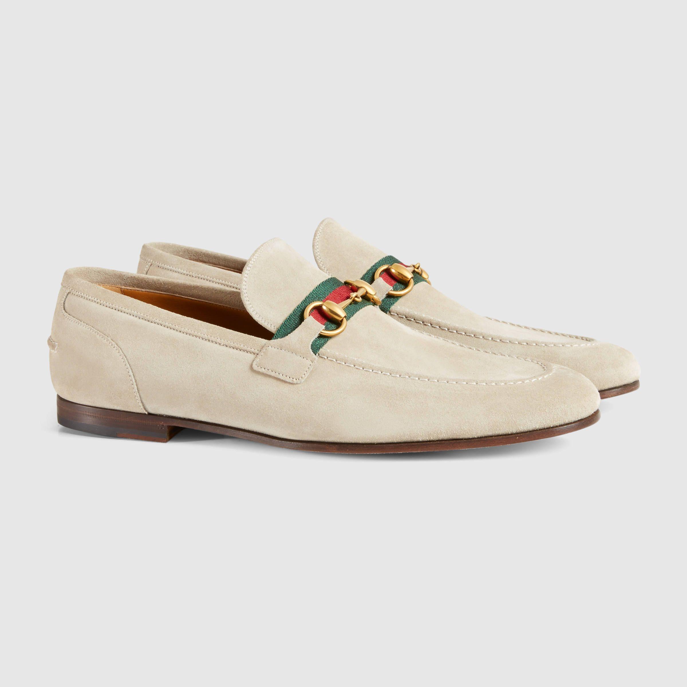 05e69034705 Gucci Men - Horsebit suede loafer with web - 322500CMA409560 ...