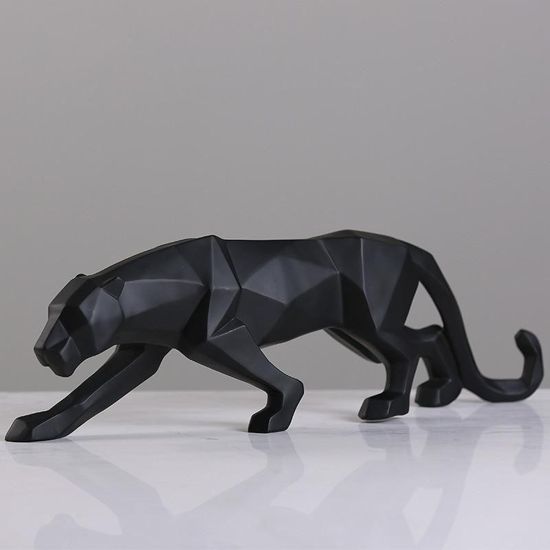 48cm Modern Abstract Golden Panther Sculpture Geometric Resin Leopard Statue
