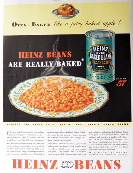 1932 Heinz Baked Beans Ad ~ Oven Baked, Vintage Food Ads (Other) | Heinz baked beans, Baked beans, Vintage recipes