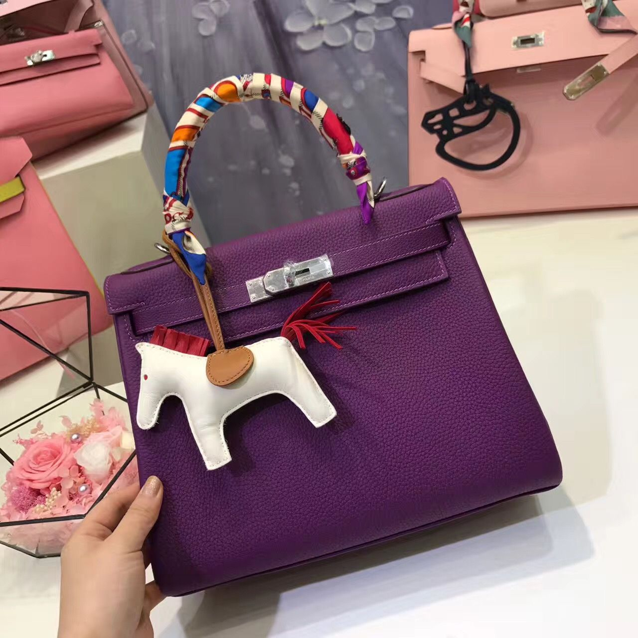 71b54d7efd1 Hermes Kelly bag in Anemone + Rodeo horse charm.