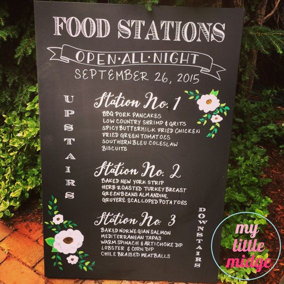 Wedding Food Stations Menu: Hand Lettered Custom Hand Drawn / Painted Wedding Food