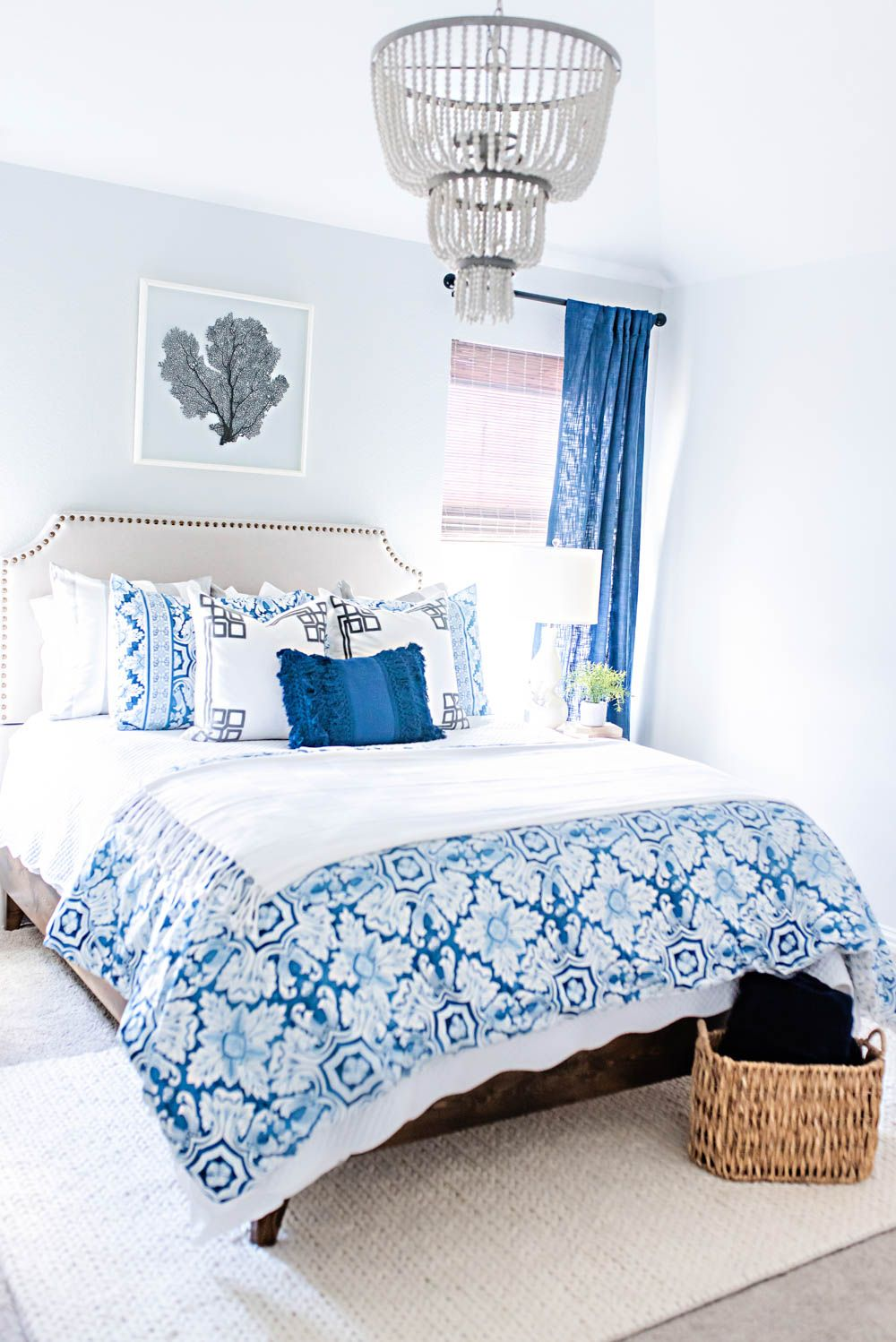 Blue and White Coastal Guest Bedroom Reveal   White home ...