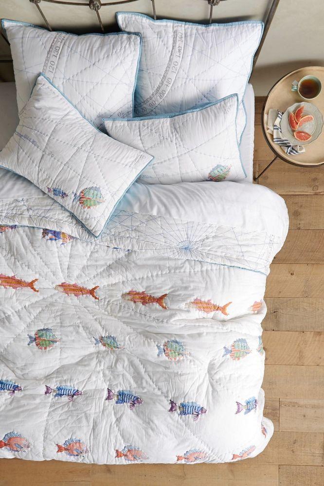$326 NEW ANTHROPOLOGIE Home Bedding Seadrifter Fish Nautical King ... : fish quilt bedding - Adamdwight.com