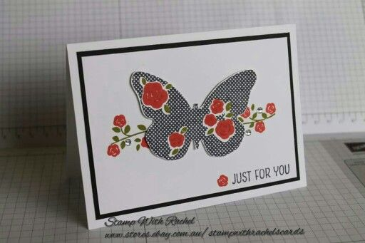 CASED this card off Alison Barclay. Stampin up floral wings hostess stamp set. So elegant.  Stamp with Rachel.