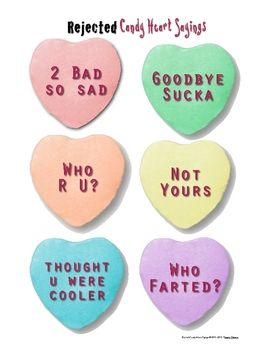 Rejected Valentine Hearts Candy Hearts Activities Anti Valentines Day Valentines Day Activities