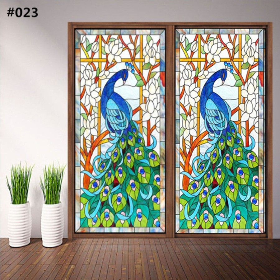 Details About Static Cling Window Film Stained Glass Effect Door