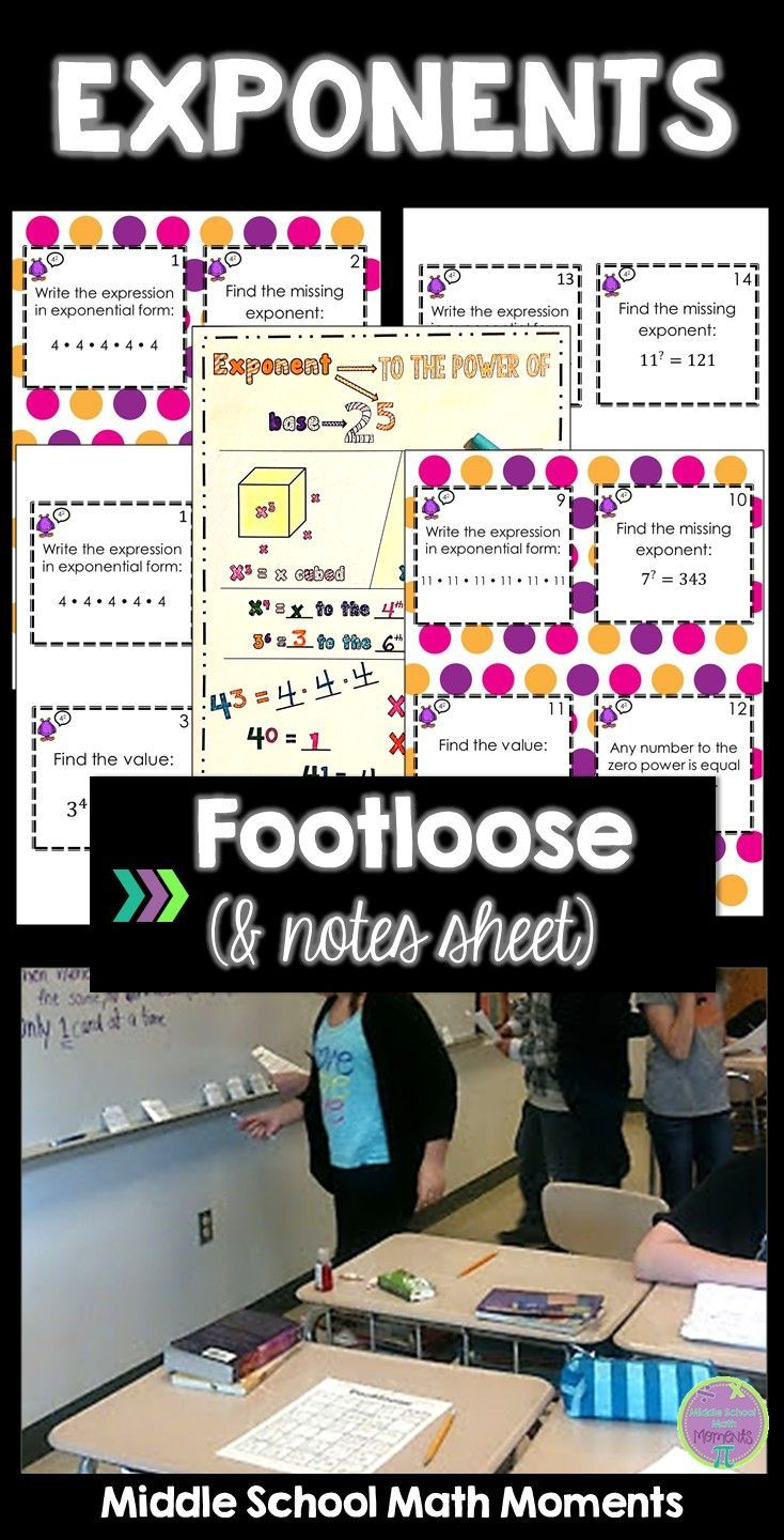 Exponent Task Cards Footloose Math Game Operations With Fractions Math Problem Solving