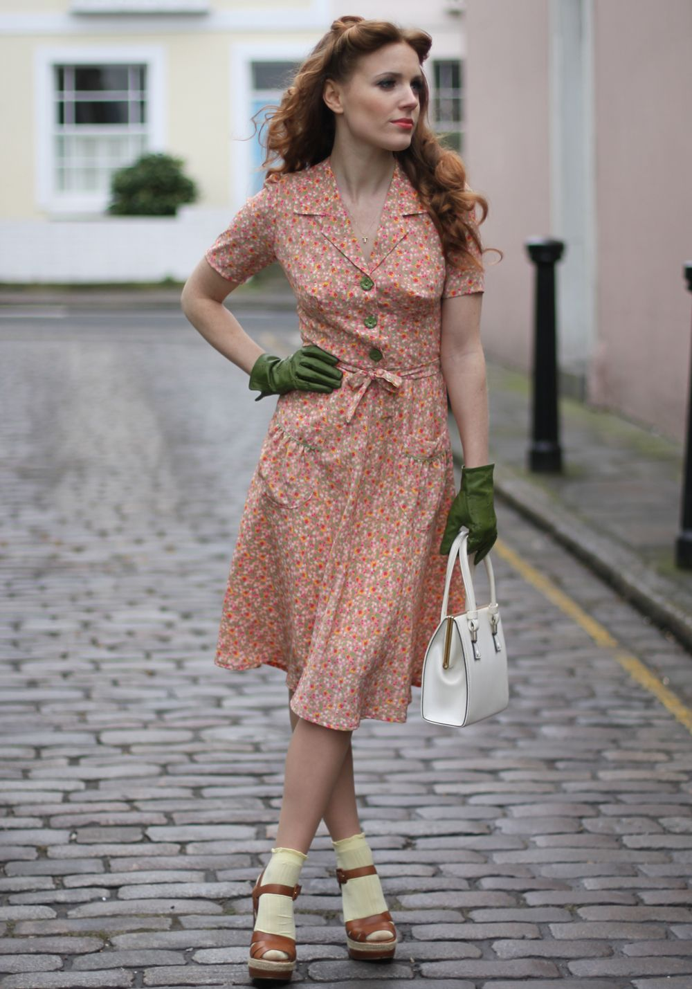The Real And The Inspired By 1940s Fashion: Pair Short Sleeve Dresses With Leather Gloves- Adorable