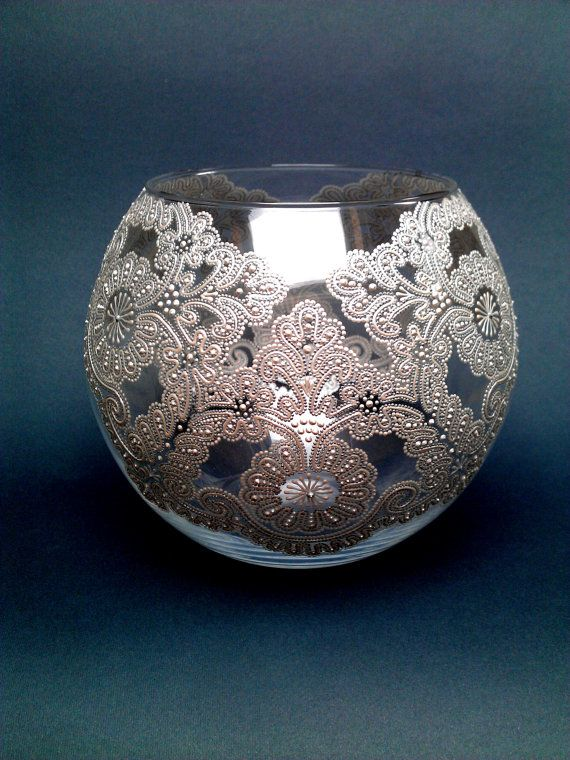 lace vase glass vase round vase hand by paintedglassbysveti vegfestett m cses pinterest. Black Bedroom Furniture Sets. Home Design Ideas
