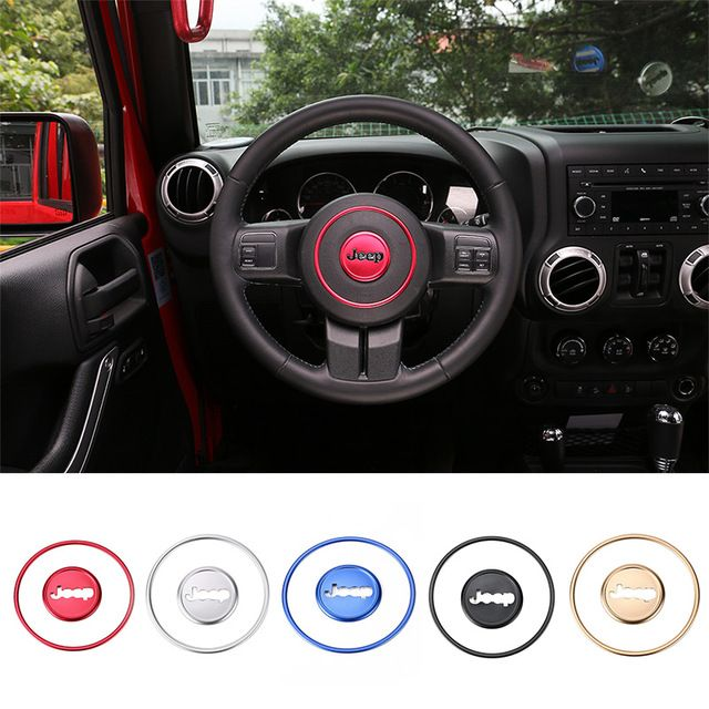 Creative Stickers Car Styling Aluminum Steering Wheel Decoration Ring For 11 13 Grand Cherokee 1 Jeep Wrangler Interior Jeep Wrangler Accessories Jeep Renegade