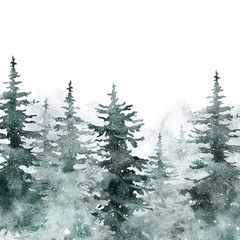 Winter ebergereen Waldillustration. Banner mit Aquarell handbemalt Kiefer …