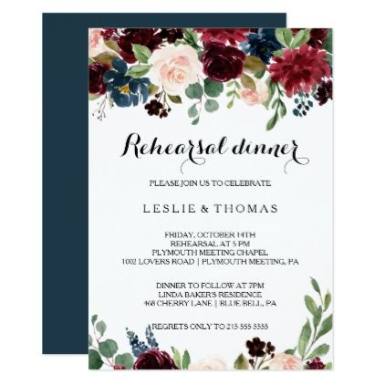 Autumn Rustic Dazzling Burgundy Rehearsal Dinner Invitation | Zazzle.com