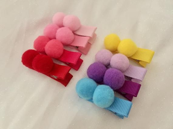 Fully lined baby hair clips mini hair clips baby barrettes pompom hair clips non slip hair clips fully lined alligator hair clips #babyhairaccessories
