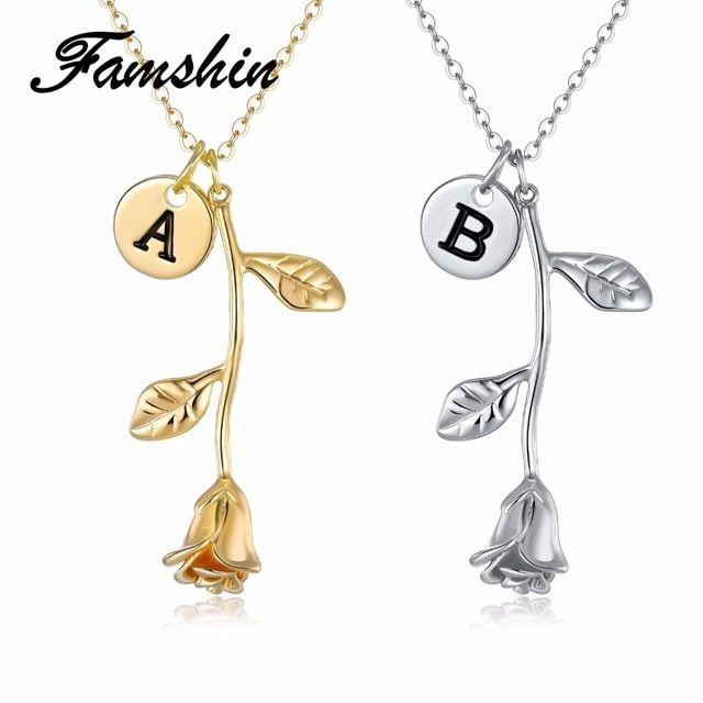 2bcdbea8d FAMSHIN 26 Letter Personalized Name Jewelry Rose Engrave Letter Discs  Choker Monogram Rose Flower Necklace Pendant