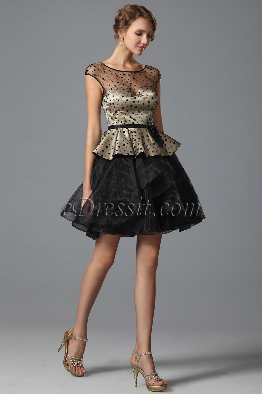 Stylish cap sleeves short dress with polka dots design