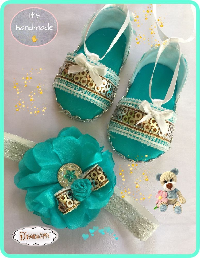 Handmade Baby Girl Sandals With Matching Headband!handmade Baby Set