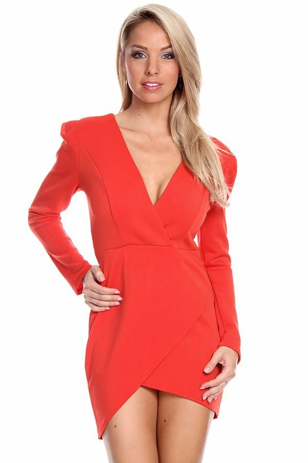 RED LONG SLEEVE SHOULDER PAD DEEP V-NECK ASYMMETRICAL DRESS-Cute ...