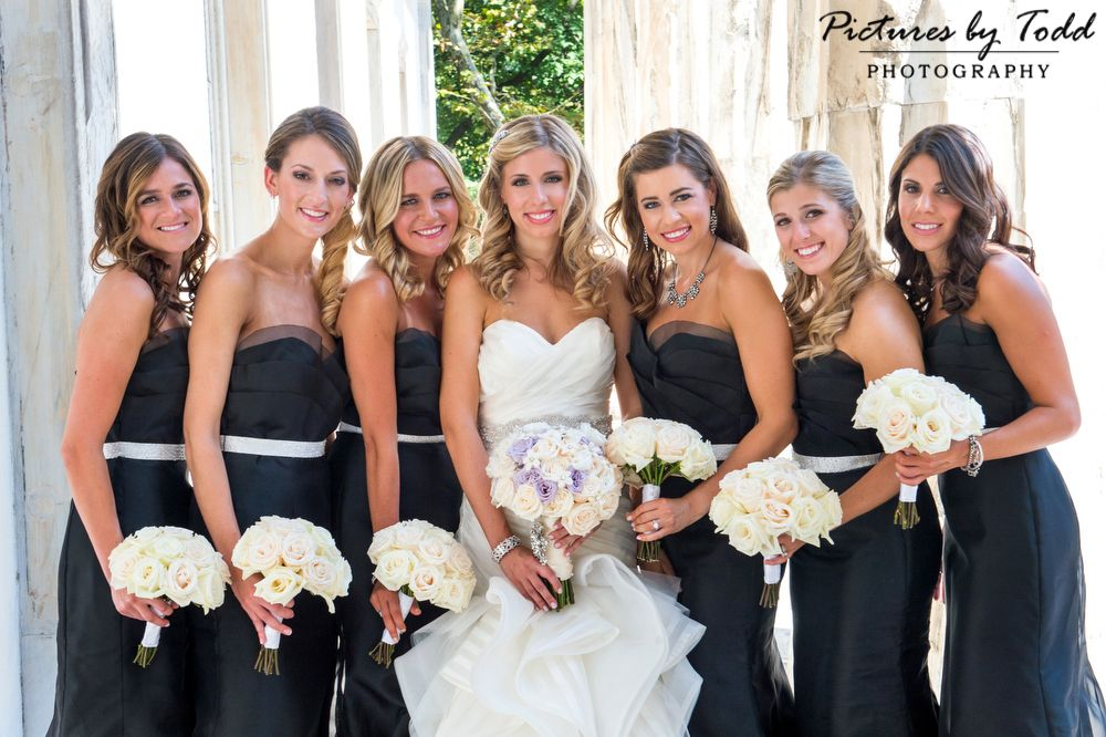 Elegant Bridal Party Black White Dresses