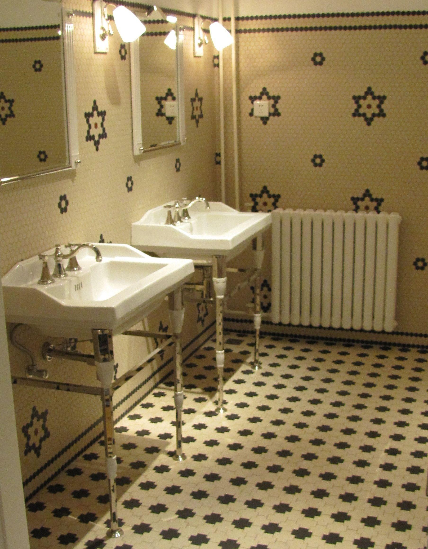 klassieke badkamer | hexagon tegels in 3 maten verkrijgbaar, Badkamer