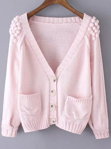 Pink V Neck Twisted Ball Pockets Knit Sweater -SheIn(abaday)