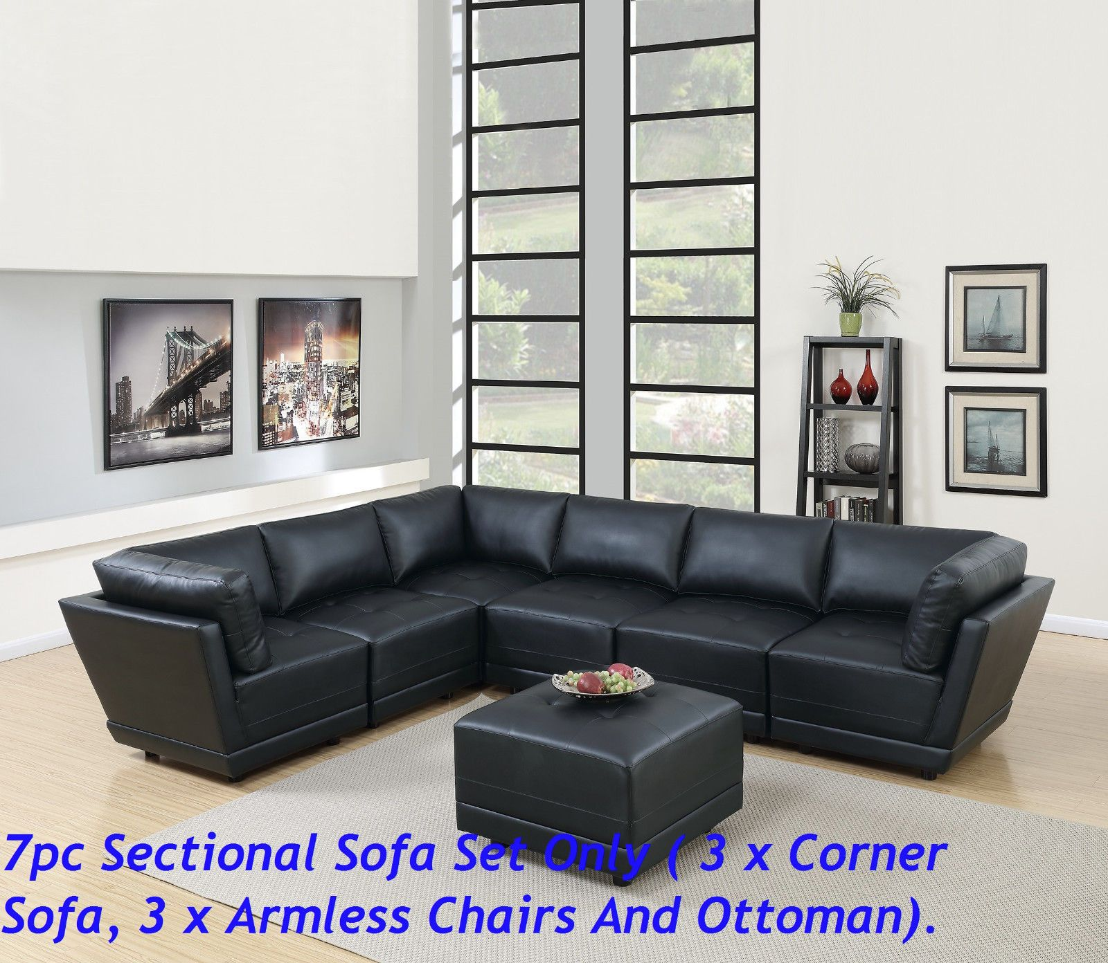 Black Bonded Leather Modular Sectional Sofa 7pc Set Tufted Seat