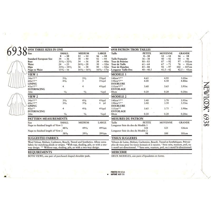 Swing Coat Pattern New Look 6938 Raglan Shawl Collar Lined Trapeze Coat Size 8 to 18 UNCUT - product images  of