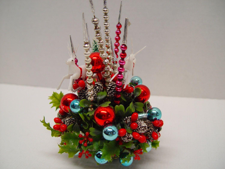 Vintage Christmas Centerpiece, Glass Spikes, Reindeer, Bottle Brush Tree By  Gandtvintage On Etsy