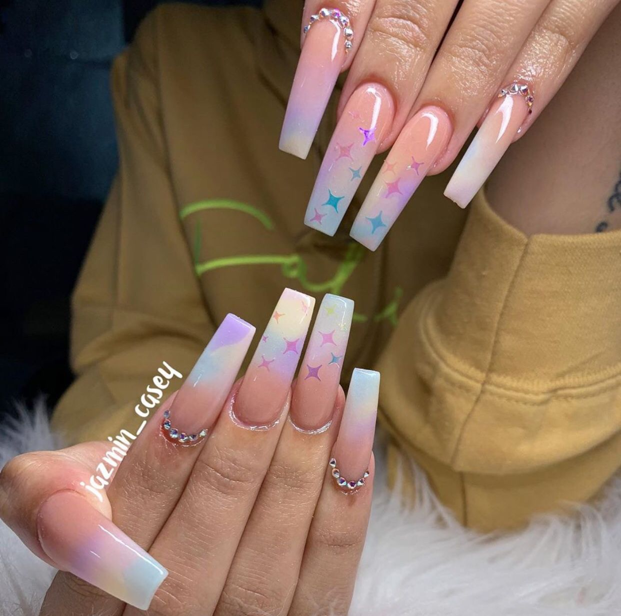 Long Coffin Nails Marble Bling Ombre Coffin Nails Long Bling Nails Coffin Nails Ombre