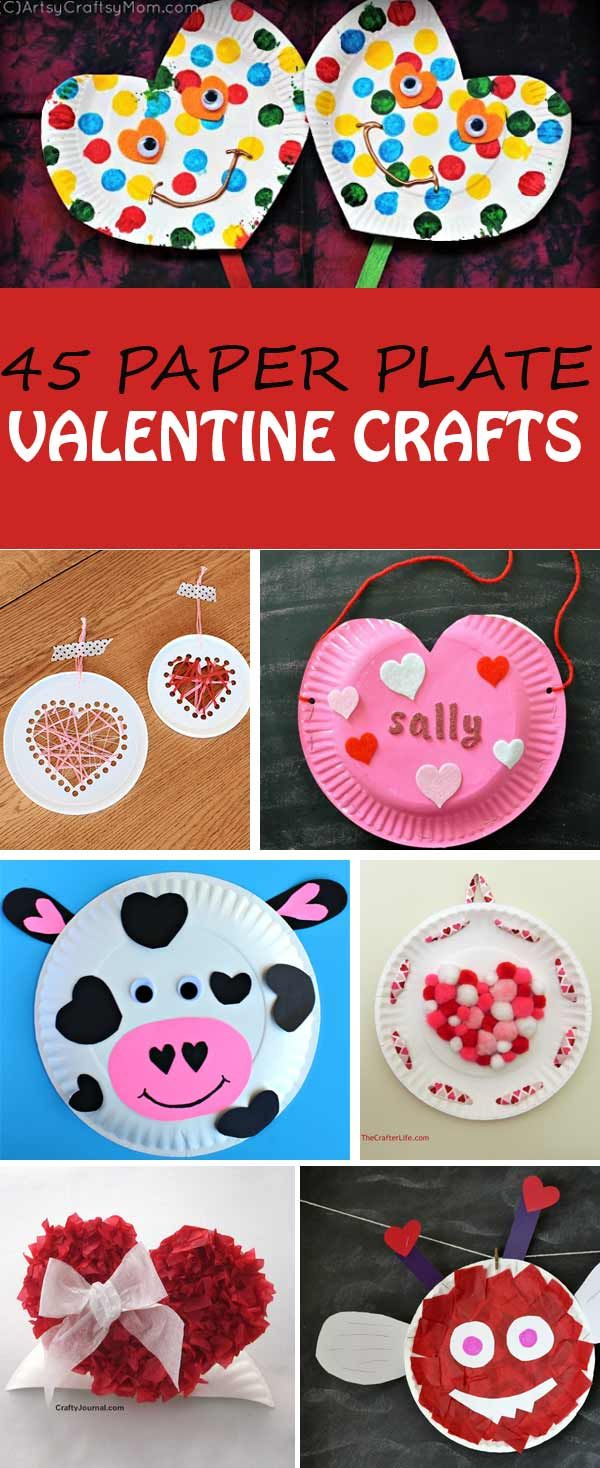 45 paper plate Valentine crafts for kids hearts card holders
